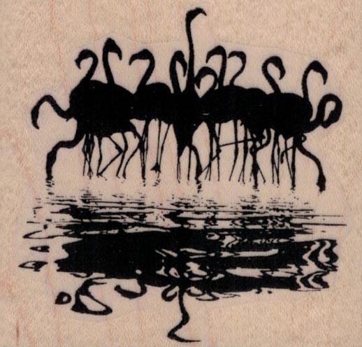 Flock of Flamingoes Reflection 2 3/4 x 2 1/2