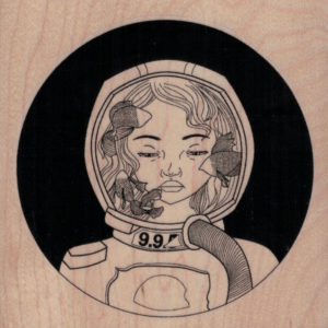 Aquarium Space Girl 3 3/4 x 3 3/4-0
