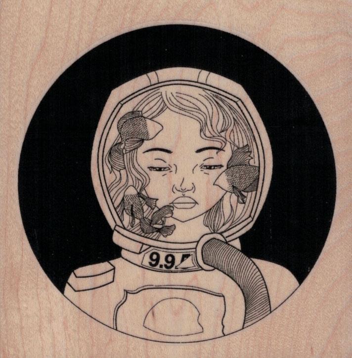 Aquarium Space Girl 3 3/4 x 3 3/4