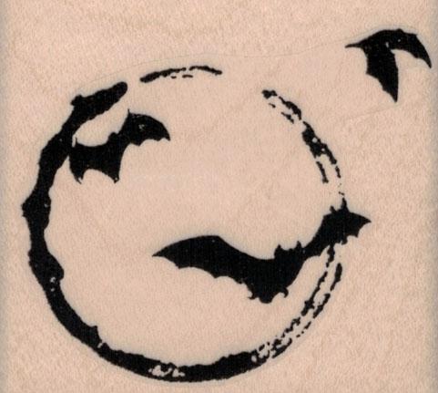 Bats Over Moon 2 1/2 x 2 1/4