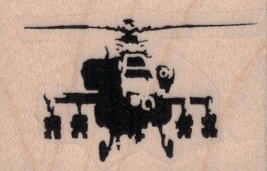 Banksy Helicopter Gunship 2 x 1 1/4
