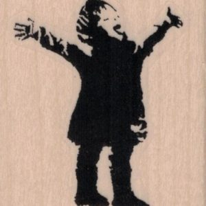Banksy Excited Boy Arms Out Catching Snowflake 2 x 2 1/4-0
