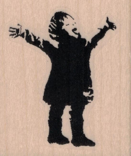 Banksy Excited Boy Arms Out Catching Snowflake 2 x 2 1/4
