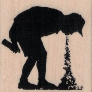 Banksy Spray Paint Boy Puking 1 3/4 x 1 3/4-0