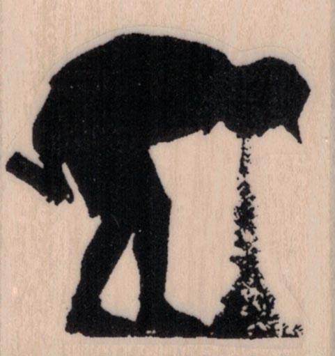 Banksy Spray Paint Boy Puking 1 3/4 x 1 3/4