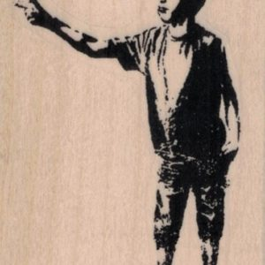 Banksy Pointing Boy 2 x 2 3/4-0
